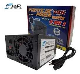Fuente de poder J&R 780w con switche negra