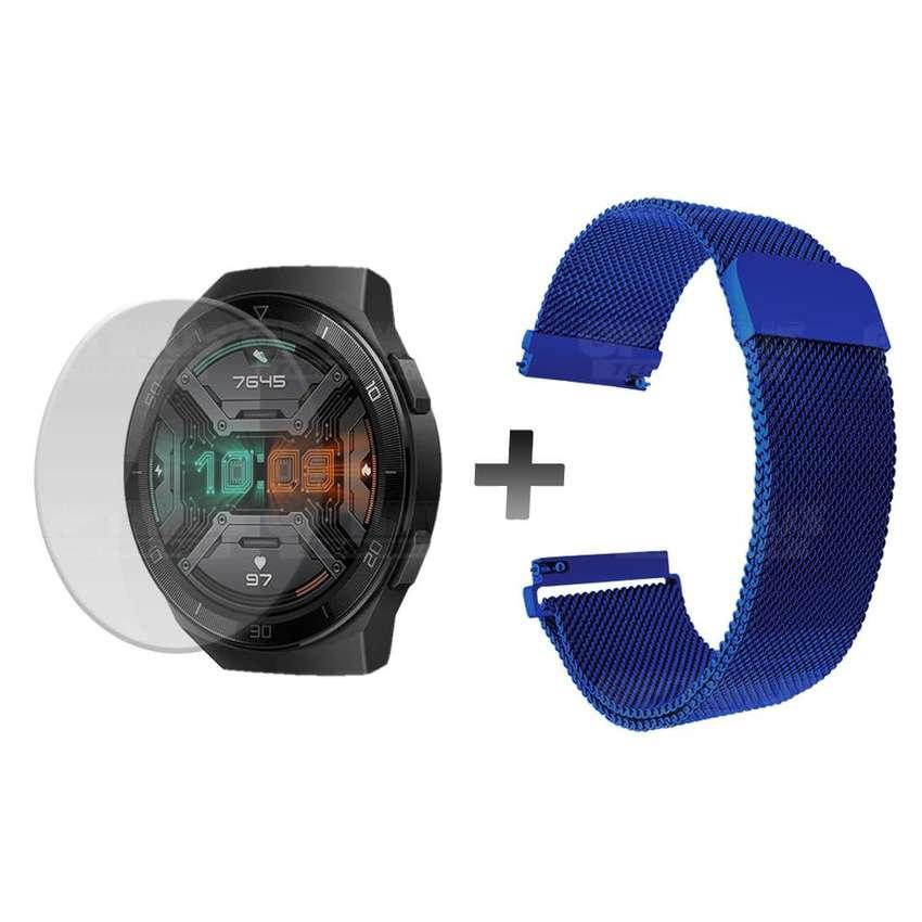 Combo Correa Manilla Pulso magnético Acero inoxidable y Buff Screen Pelicula Protectora de Reloj inteligente Huawei Gt2E