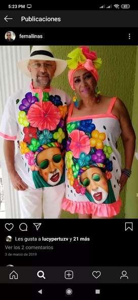 Venta de ropa pintada a mano para carnavales, diseño a su gusto.