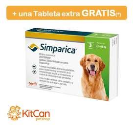 Antipulgas Simparica 80 mg Perros Grandes de 20 A 40kg Caja x 3 tabletas + 1 tableta gratis (*)