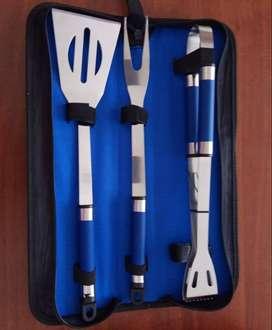 Set  nuevo de utensilios para bbq, en acero inoxidable (Precio Rebajado)