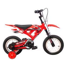 Bicicleta Niño Niña Rin 12 Pulgadas Mini Moto