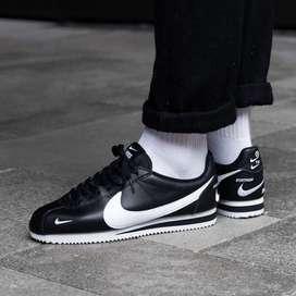Tenis Nike Cortez Leather Cuero Negro Blanco Envio Gratis