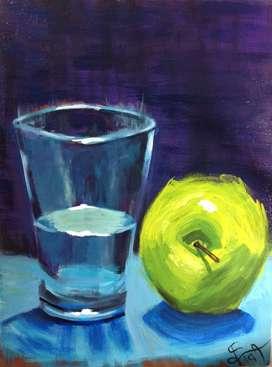 Pintura de vaso con manzana