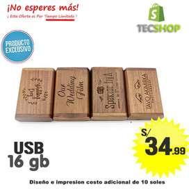 USB CON CAJA DE MADERA 16 GB ALTA VELOCIDAD USB3
