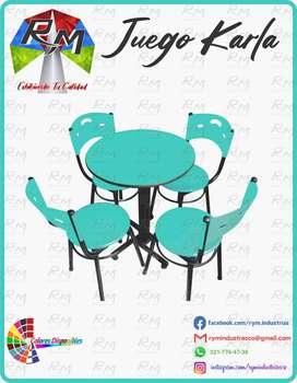 Fabrica de sillas y mesas linea Karla con mesa redonda y cuadrada diámetro 60 y 60*60 en formica PVC PRECIOS DE FABRICA