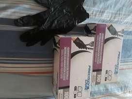 Ventas de guantes de nitrilo en negros  talla L y azules talla s
