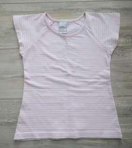 Remera rosa rayada lycra de algodón talle 4 años