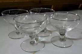 4 copas talladas para sidra