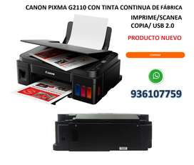 IMPRESORA MULTIFUNCIONAL CANON PRIXMA G2110 CON SISTEMA CONTINUO ORIGINAL + IMPRIME/COPIA/SACANEA EN ALTA CALIDAD + BOLE