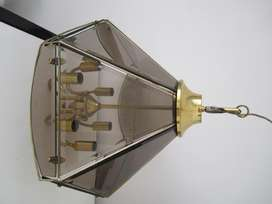 Antigua Lampara Colgante 6 Luces de Bronce y Vidrios Biselados