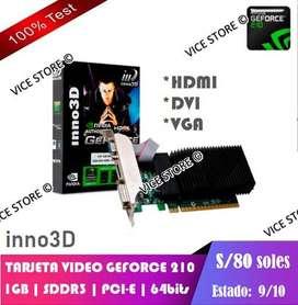 Vendo Tarjeta de Video | GeForce 210 | 1GB | SDDR3 | PCI-e | HDMI DVI VGA | Estado: 9/10