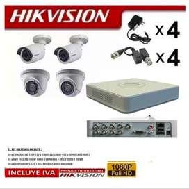 Cctv Kit 4 Camaras De Seguridad Hikvision Full Hd 1080p + Dvr 8 INCLUYE DISCO DURO 500 TB