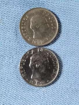 Monedas de 20 centavos año 1969 de colombia  - bj