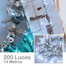 EXTENSIÓN LUZ LED LINEAL 200 LUCES 14 METROS BLANCA CABLE TRANSPARENTE 1441