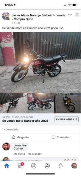 Vendo moto Ranger año 2021 poco uso