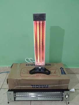 Estufa electrica de cuarzo 1200 w 2 velas vertical y horizontal