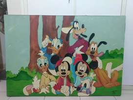 Cuadro de tela pintado Disney grande