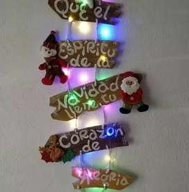 Decoración puerta Navidad, adorno, luminoso