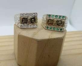 Anillo de dólar en oro y plata