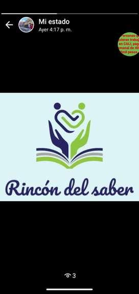 Cuidado de niños, refuerzo academico, acompañamiento en tareas preescolar y primaria