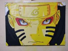 Cuadro de Naruto pintado a mano