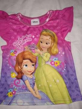 remera  princesa disney y otras rosa de 24 meses c/u