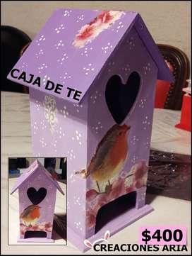 CAJA DE TE PAJARERA PARA REGALAR @creacionesaria
