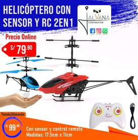 Helicóptero 2en1 con sensor y control remoto