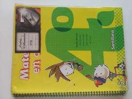 Libro Matemática En cuarto Editorial Santillana.
