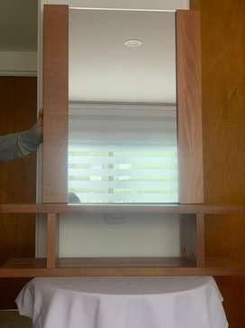 Tocador dos piezas en madera con espejo