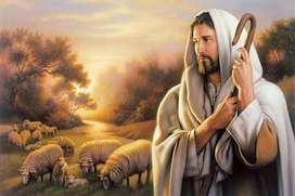 Jesus Buen Pastor 60x90 Lienzografía Impresión Con Bastidor