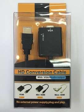 Convertidor De Vga A Hdmi Con Sonido Plug And Play