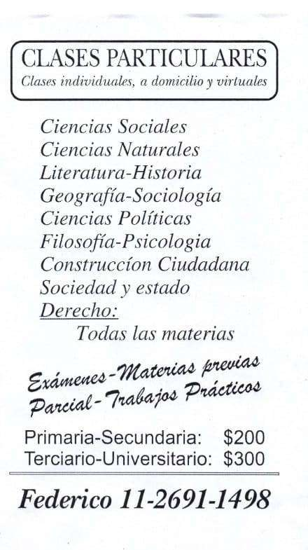 Clases Particulares GBA/CABA.