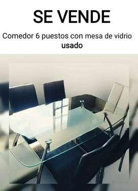 Comedor 6 puestos con mesa de vidrio usado