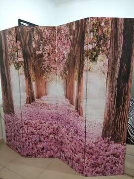 Biombo de 4 hojas con paisaje de cerezos