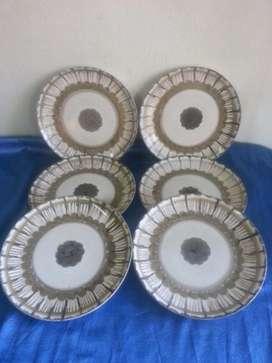 Antiguo juego 6 platos porcelana Hartford