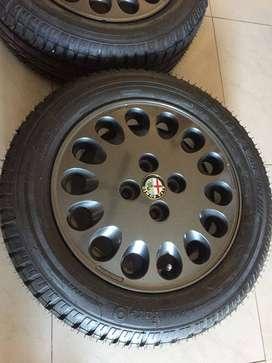 4 Neumáticos Fate 185/60 R14 82h Sentiva360 + Llantas Alfa romeo r14 originales + centro de llanta AlfaRomeo NUEVO