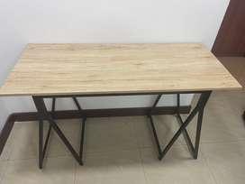 Mesa escritorio oficina madera base metalica