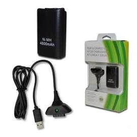 Kit Carga Y Juega Xbox 360 + 4800 Ni-mh Cargador