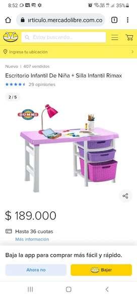 Escritorio silla rosado niña