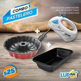 COMBO PASTELERO MOLDE CORONA+MOLDE DE PAN+BATIDORA DE MANO ELECTRICLIFE