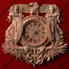 Reloj tallado en madera alto relieve -mecanismo Quartz