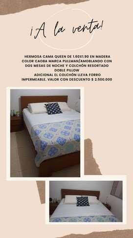 Se vende hermosa cama queen