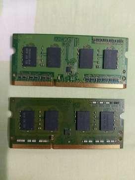 2 Memorias Ram DDR 3 de 1 Gb.