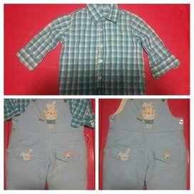 Overol Y Camisa para Niño 9 a 12 Meses