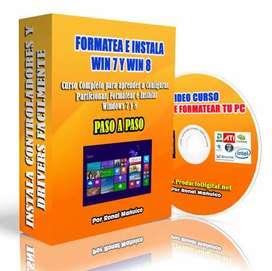 Formatea tu PC descarga el Curso y aprende en casa  Instalar Windows 10, 8 y 7, Video Tutorial a solo 25 soles