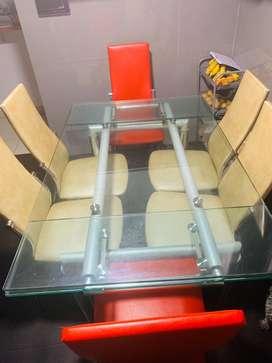 Mesa comedor de acero/vidrio, 6 sillas PRECIO NEGOCIABLE