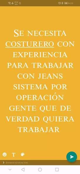 Busco costurero para trabajar con pantalones jeans por operaciones