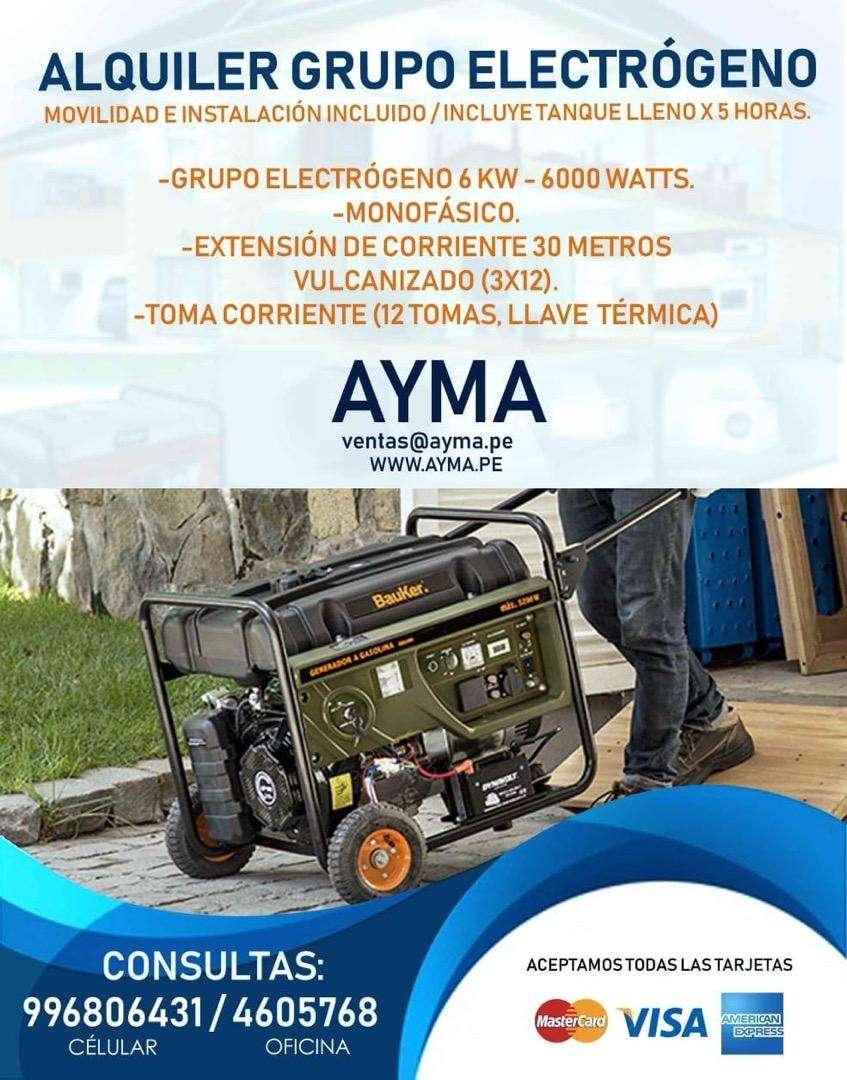 ALQUILER DE GRUPO ELECTROGENO A DOMICILIO 6kw 6000watts 0